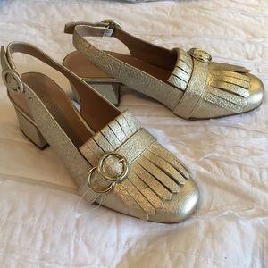NWOB Franco Sarto Leather Kilt Flap Kitty Gold